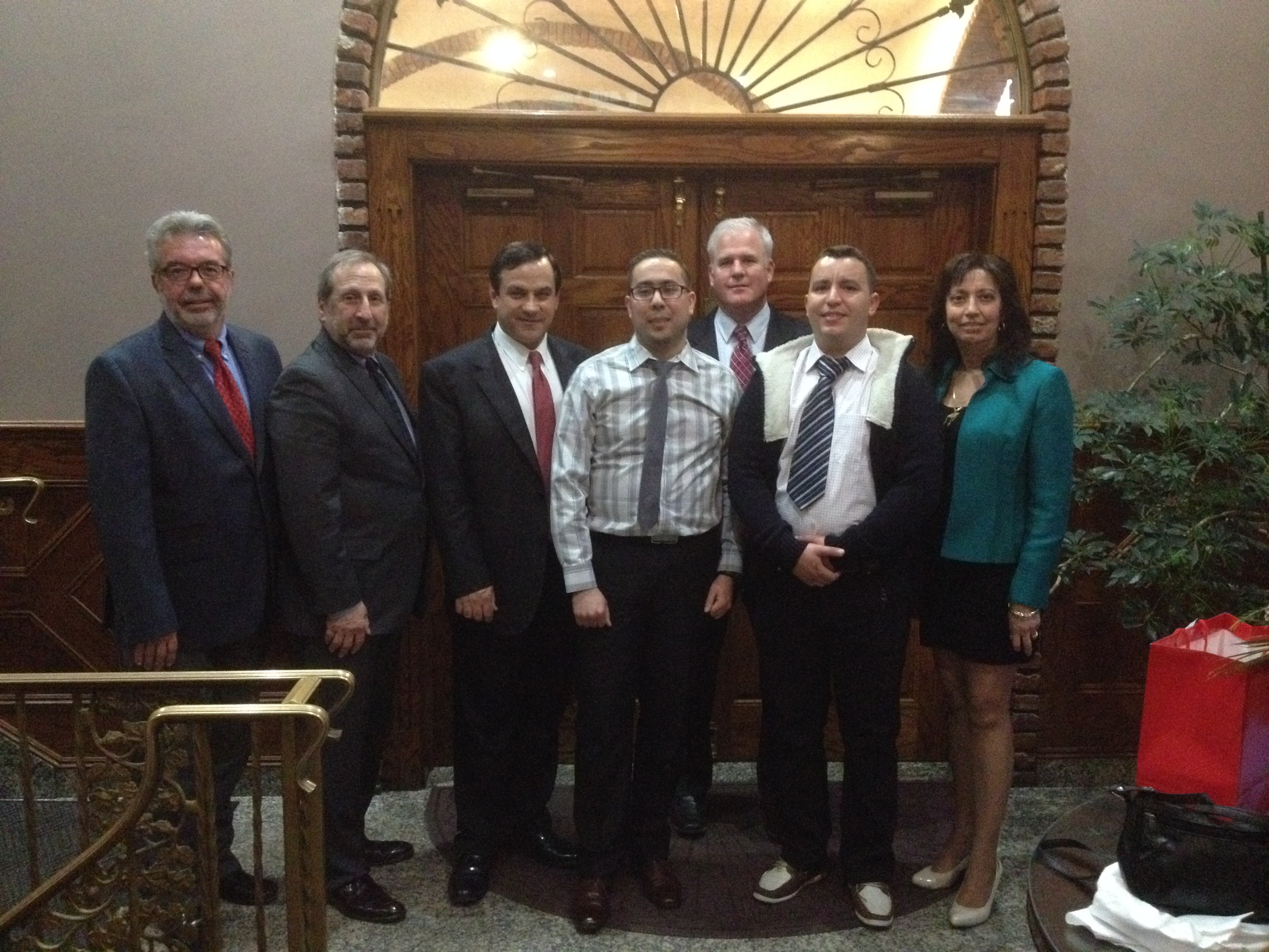 From left to right: Greg Mass, Bob Nardi, Sotirios G. Ziavras, Walid Bouabid (2015 Louis Berger Graduate Internship Recipient), Sean McGonical, Said Ouabi (2015 Louis Berger Graduate Internship Recipient), Clarisa Gonzalez-Lenahan