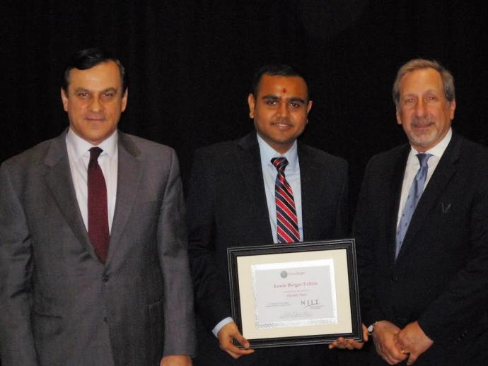 Dr. Sotirios Ziavras, NJIT Vice Provost of Graduate studies with 2017 Louis Berger Fellow Hardik Patel and Louis Berger Group Senior Vice President Robert J. Nardi.